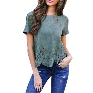 NWOT Teal suede cut out shirt